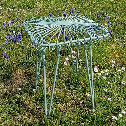 aubaho Tabouret de Fleur Tabouret de Jardin Chaise métal Style Antique Vert 44cm