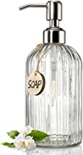 JASAI 18 Oz Clear Glass Soap Dispenser with Rust Proof Stainless Steel Pump, Refillable Liquid Hand Soap Dispenser for Bathroom, Premium Kitchen Soap Dispenser (Clear)