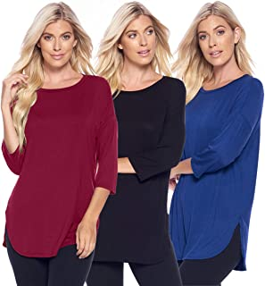Isaac Liev 3-Pack Women's 3/4 Quarter Sleeve A-Line Loose Fit Basic Casual Tunic Tops - Made in The USA