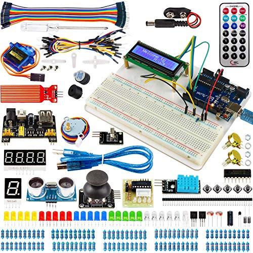 Miuzei Starter Kit für Arduino R3 Projekte mit Mikrocontroller, Brotschalenhalter, LCD1602 Modul, SG90 Servo, Sensoren und Detaillierte Lektionen MA05