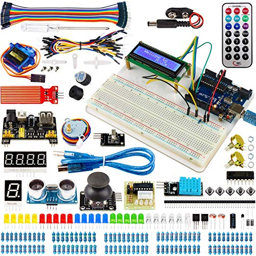 Miuzei UNO R3 Starter Kit with Arduino Including Breadboard Holder, LCD, Motor Servos, Sensors And Detailed Tutorial MA05-F