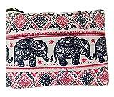 Monedero de elefante de lona de algodón con cremallera estilo hippie boho para mujer con estampado tailandés