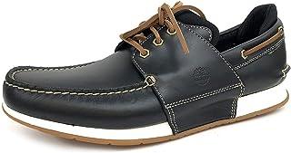 Timberland Heger Bay Chaussures bateau en cuir pleine fleur à 3 œillets pour homme, (Noir pleine fleur), 43 EU