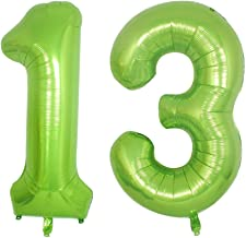 Green Foil 40 in 13 Helium Jumbo Number Balloons, 13rd Birthday Decoration Digital Balloon for Women or Men, 13 Year Old Party Supplies