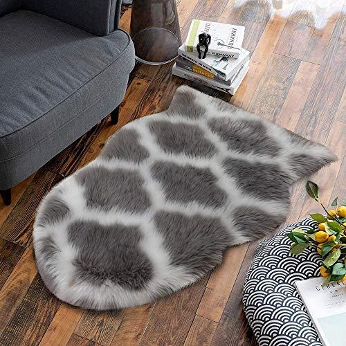 Pauwer Faux Lammfell Schaffell Teppich Kunstfell Lammfellimitat Teppich Longhair Fell Optik Nachahmung Wolle Bettvorleger Sofa Matte (Grau, 60 x 90 cm)