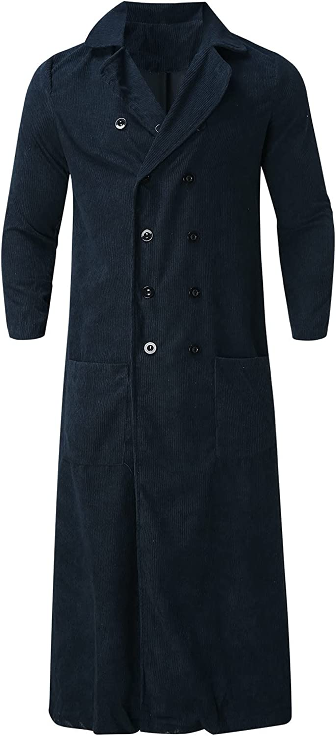 Huangse Men's Plus Size Corduroy Notched Lapel Trench Coat Autumn Winter Long Length Single Breasted Peacoat