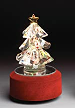 Glass Christmas Tree Music - Rotating Glass Tree on Lighted Base - Color Changing Tree - Wind up Christmas Decoration
