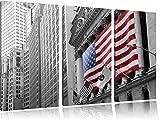 eindrucksvolle amerikanische Flagge schwarz/weiß auf 3-Teiler Leinwandbild 120x80 Bild auf Leinwand, XXL riesige Bilder fertig gerahmt mit Keilrahmen, Kunstdruck auf Wandbild mit Rahmen, gänstiger als Gemälde oder Ölbild, kein Poster oder Plakat