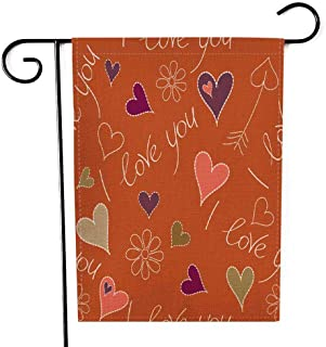 Capsceoll Garden Flag Outdoor 12.5X18 Inch Double Sided Handwritten Quote About Love to Valentines Day in Purple Pink Colors Pattern Wedding Decorative Yard Flag for Autumn Christmas Christmas