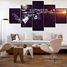 HSART Modular Poster Game Counter-Strike Global Offensive 5 Pieces Wall Art Home Decor Canvas Painting for Modern Living R...