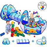 3 In 1 Kids Play Tent with Play Tunnel, Ball Pit, Basketball Hoop for Boys & Girls, Toddler Pop Up...