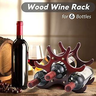 Gimars Botelleros de Vino apilable 6 Botellas, Madera Estante para Botellas de Vino, Agua y Refrescos, Vinoteca de Madera,Porta Vino de maderaDecoración de Casa, Oficina, Sala y ect.