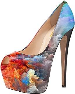 Women Gorgeous Super High Heels Dress Shoes Multicolored Peep Toe Platform Pumps Size 4-15 US