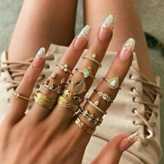 Missgrace Piece Boho Rings Set Vintage Rhinestone Statement Fashion Festive Jewelry الفردية تاج خواتم للسيدات البوهيمي خوا...