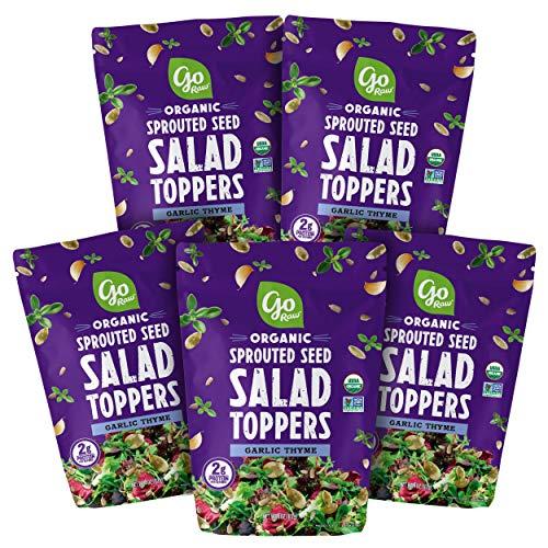 Go Raw Pumpkin & Sunflower Seed Mix, Garlic Thyme Salad Topper, 4 oz. Bags (Pack of 5) — Keto   Vegan   Gluten Free   Organic