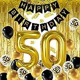 iZoeL Decoración de fiesta de cumpleaños 50 en oro negro, pancarta de feliz cumpleaños, helio número 50 XXL, 2 cortinas de flecos doradas, confeti de látex, confeti de mesa