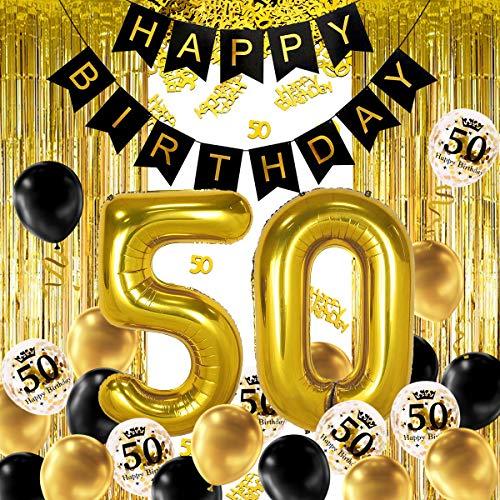 iZoeL 50 ans déco anniversaire Or noir, bannière joyeux anniversaire, ballon hélium chiffres 50 XXL, Rideau à Franges Or noir confettis latex numéro tableau deco confettis fille femmes