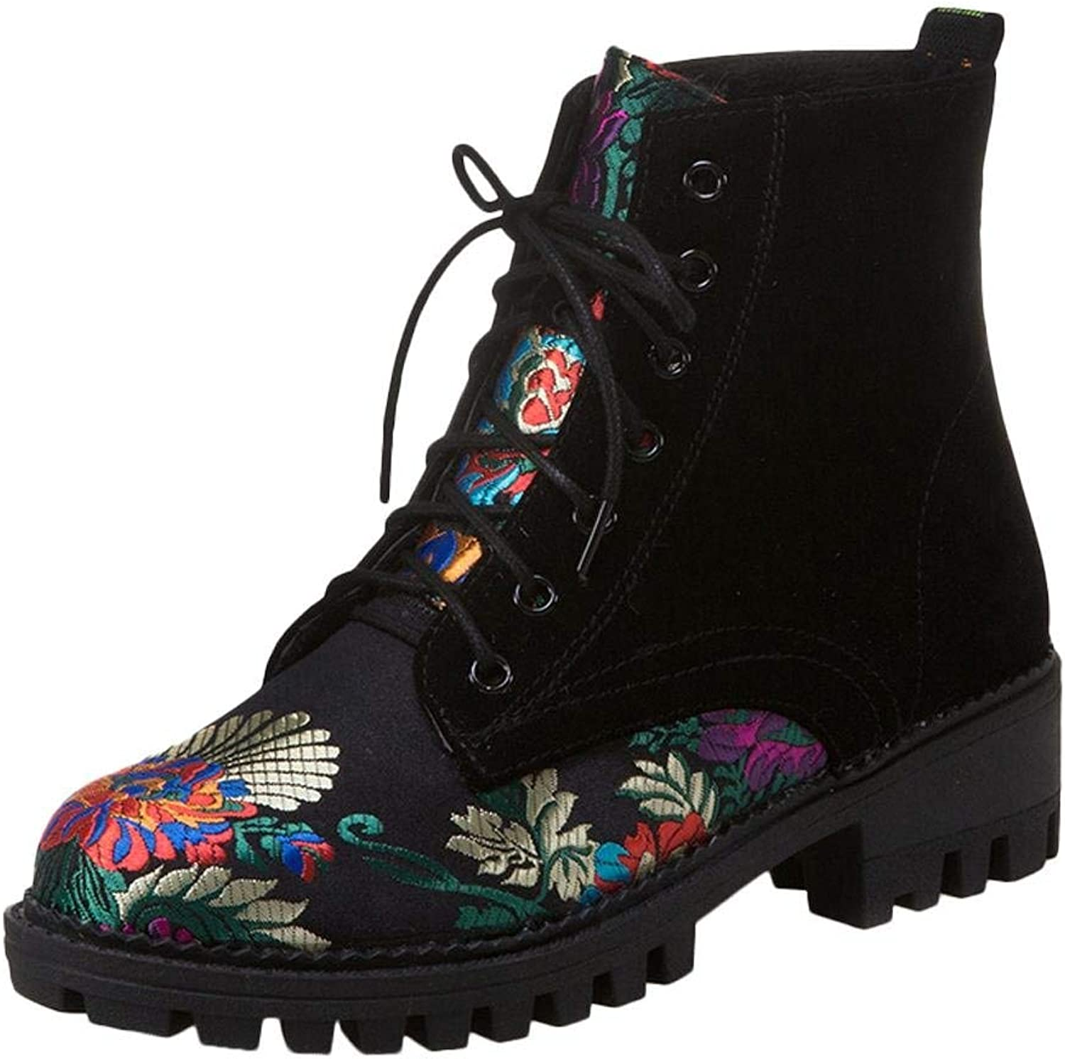 Lelehwhge Women's Lace Up Embroidery Flowers Low Heel Martin Boots Black 7 M US