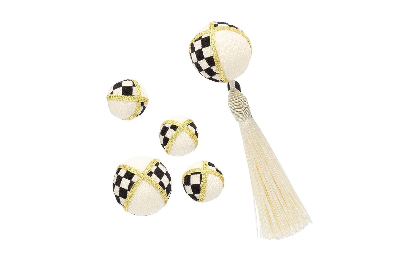 (ソウビエン)髪飾り 5点セット 白 黒 金色 市松格子 玉飾り 縮緬 房飾り 日本製