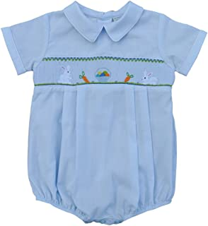 Carriage Boutique Baby Boy Blue Creeper - Hand Smocked Easter Bunnies