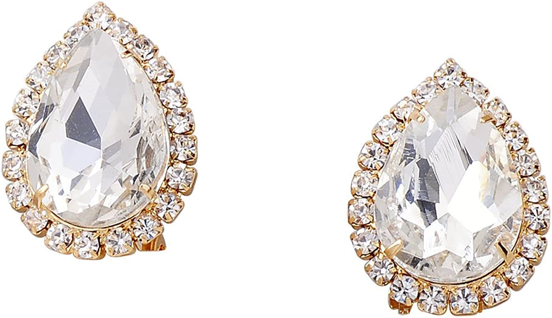 Topwholesalejewel Wedding Earrings Gold Plating Crystal Oval Shape Clip On Earrings