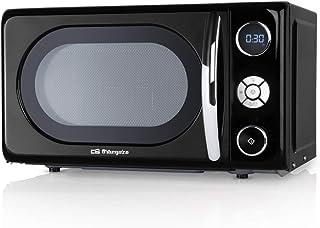 Orbegozo MIG2044 Microondas con grill, 20 litros de capacidad, 10 niveles de potencia, 8 menús automáticos preconfigurados, sistema de cocción multifunción, display digital LED, 700 W, Acero, Negro