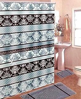 Beckham Brown & Blue 15-Piece Bathroom Set: 2-rugs/mats, 1-Shower Curtain, 12-Chrome Hooks