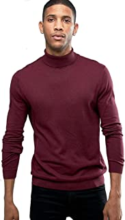 ELEGANCE1234 Men's Roll Neck Soft Cotton Long-Sleeve Tops