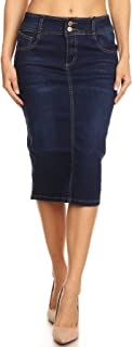 Womens Plus/Juniors Mid Waist Below Knee Length Denim Skirt in Pencil Silhouette