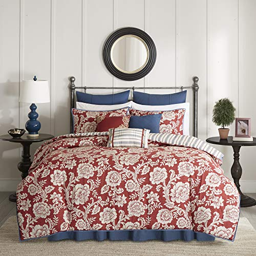 Madison Park 100% Cotton Comforter Set-Modern Cottage Design All Season Down Alternative Bedding, Matching Shams, Bedskirt, Decorative Pillows, Queen(90