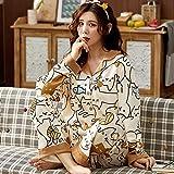 JJHR Schlafanzug Einfache Pyjamas für Frauen Casual Homewear Baumwolle Nachtwäsche Damen Set...