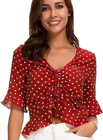Camisa Lunares Mujer Crop Top Verano Cortas Gasa Camisetas ...