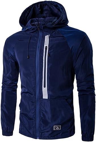 Vjibmt Un Manteau Court Hommes la Mode pour Hommes à la personnalité de la Mode décontracté Manteau Manches Longues,Marine,XL