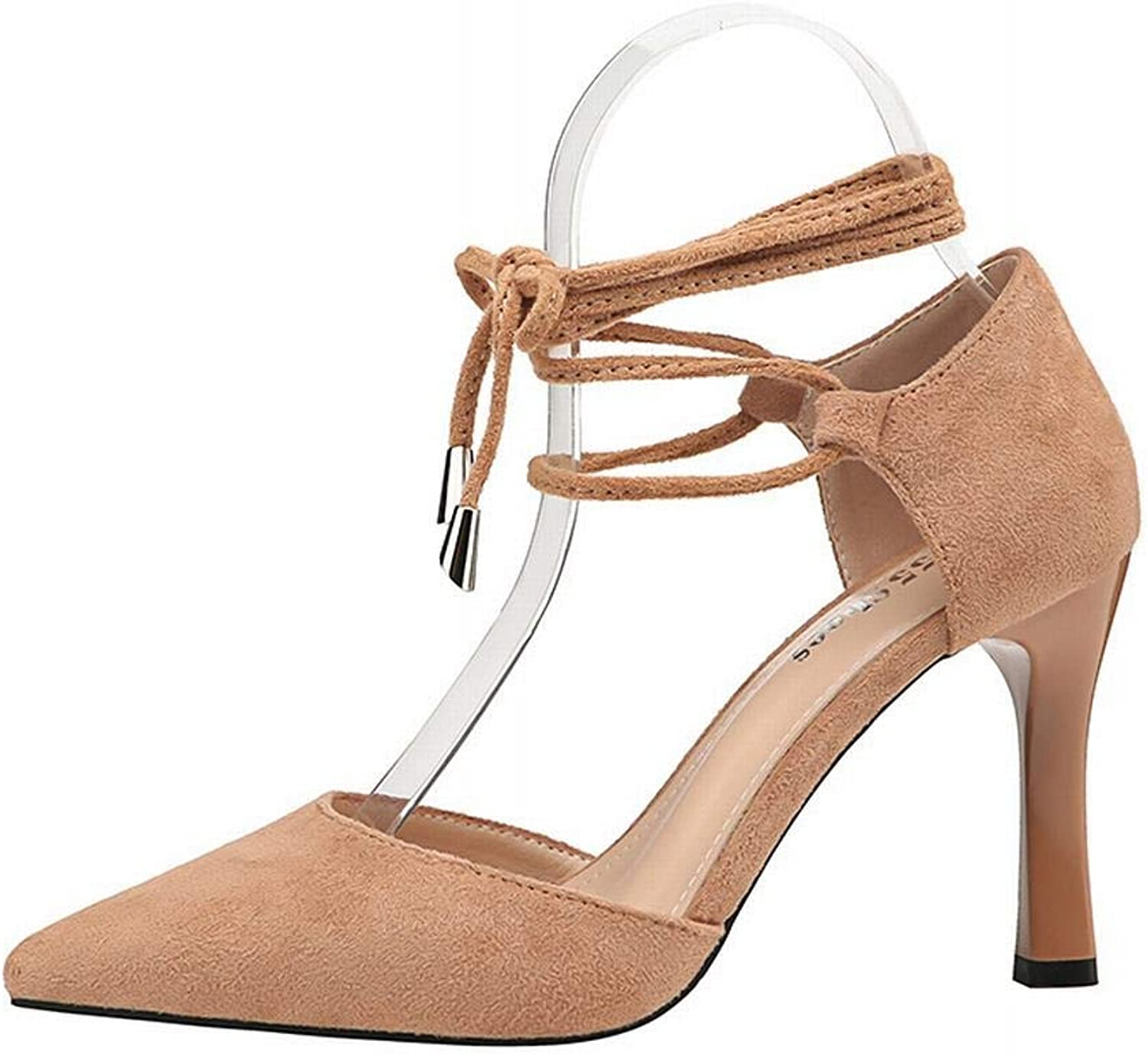 YUKILO Women's High Heel Sandals Fashion Pointed High Heels Sexy Lace Single shoes (color   Khaki, Size   38)