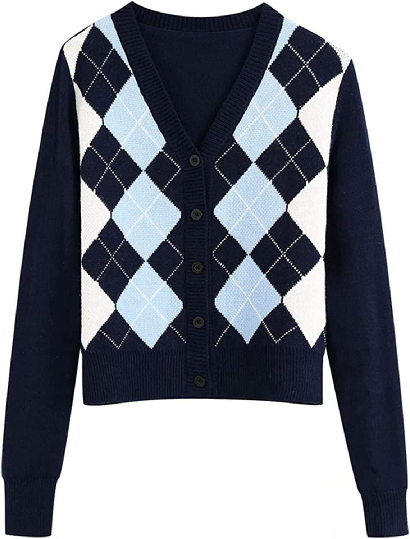 Y2K Preppy Women Argyle Plaid Sweater Cardigans Knitwear V Neck Button Up Top Coat