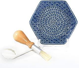 The Grate Plate 3 Piece Handmade Ceramic Garlic Grater Set - Grater, Peeler, Brush