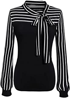 Women Blouse Business Blouse Bow Strappy Striped Patchwork Slim Tops by St.Dona