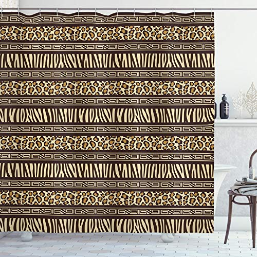 Animal Print with Brownish Geometric Shower Curtain with Hooks