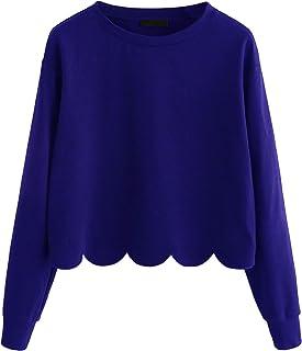 ROMWE Women`s Casual Long Sleeve Scalloped Hem Crop Tops Sweatshirt
