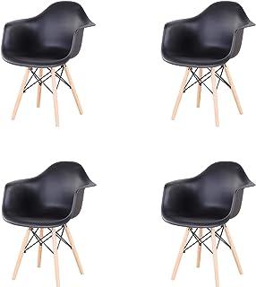 GrandCA Conjunto de 4 sillas de Comedor Silla de Oficina Silla de salón Silla de Cocina ,Butaca, sillas de recepción (Negro)