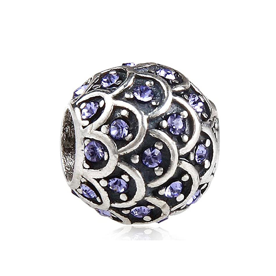 Sparkling Fish Scale with Purple Austrian Crystal February Birthstone 925 Sterling Silver Bead Fits Pandora Charm Bracelet n4498503103