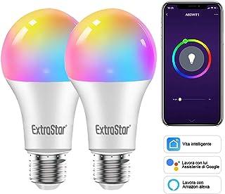 EXTRASTAR - Bombillas LED E27 con WiFi, bombillas inteligentes, 10 W, 1000 lm, luces cálidas y frías y 16 millones de colores, compatibles con Alexa, Google Home y con temporizador, paquete de 2