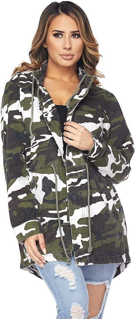 SOHO GLAM Womens Hooded Parka Jacket Warm Winter Coat Faux Fur Trim Hood -S