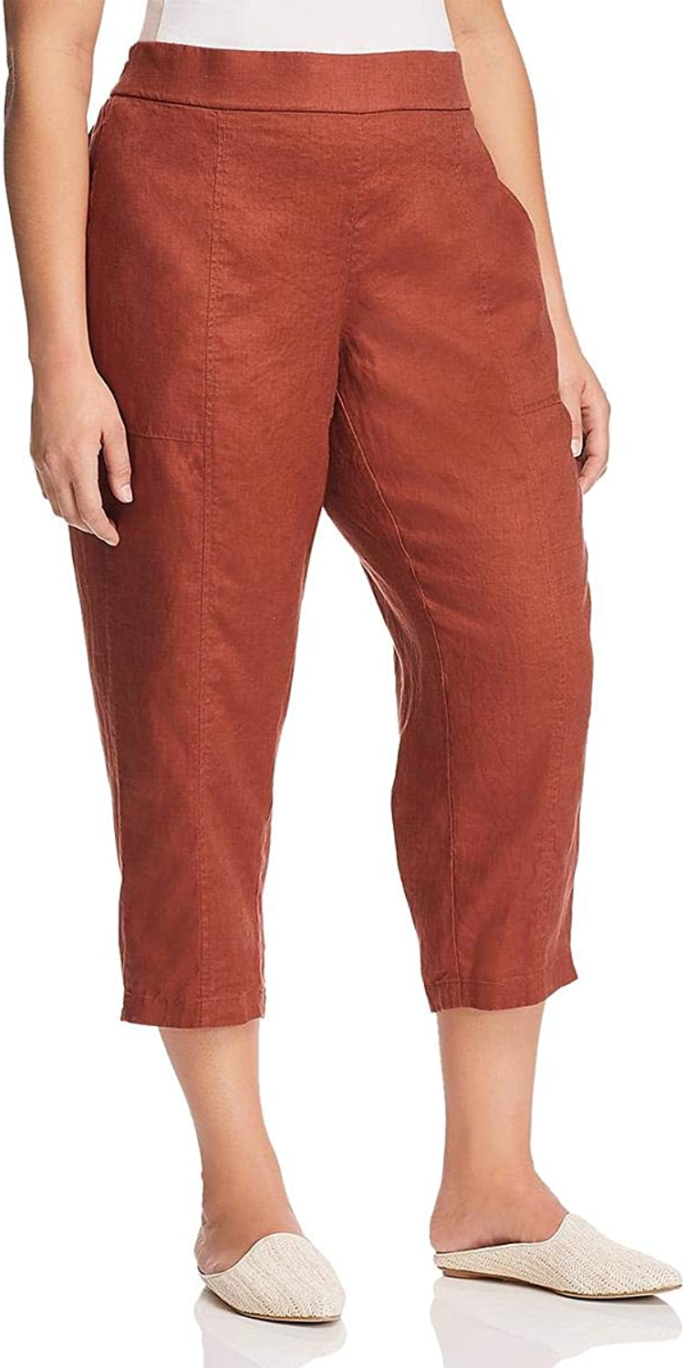 EileenFisher Womens Plus Linen Ankle Casual Pants
