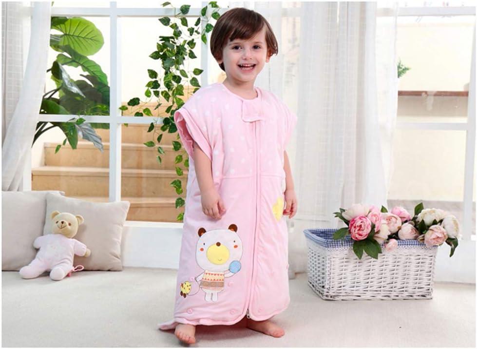 Coton Chaud Et Anti-coups De Pied Enfants 0-3 Ans Automne Et Hiver Épais Bébé Bébé Manches Détachables Sac De Couchage 110cm Pink