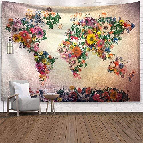 WERT Mapa del Mundo 3D geométrico Tapiz Colgante de Pared Toalla de Playa decoración del hogar Tapiz de Tela de Fondo A24 130x150cm