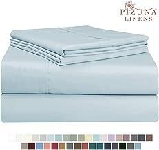 Pizuna 400 Thread Count XL Twin Sheets Set Light Blue, 100% Long Staple Cotton Twin XL Cotton Sheets, Soft Sateen Bed Sheets fit Upto 15 inch Deep Pocket (Baby Blue XLong Twin Sheets)