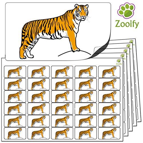 480 x Aufkleber - Tiger (38 x 21 mm). Hochwertige selbstklebende Etiketten mit Tiermotiv von Zooify.