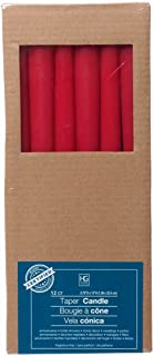 Hosley Set of 12 Red Unscented Taper Candles 10 High. Using Wax Blend. Ideal for Wedding Emergency Lanterns Spa Aromatherapy Party Reiki Church Vigil O4