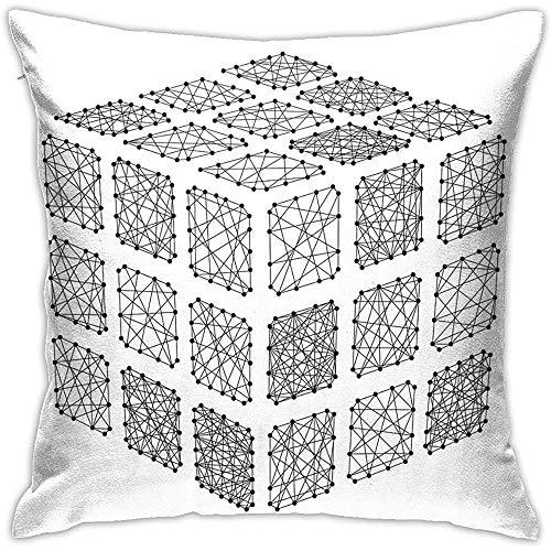 Not applicable Fundas de Almohada de Terciopelo, Cubos Rubiks desmontados de futurista Abstracto, Fundas de Almohada Decorativas de 18x18 en Fundas de cojín con Cremallera
